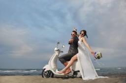 Bride and groom planning wedding